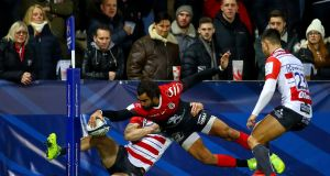 Toulouse's Yoann Huget attempts to scores a try which was  disallowed by the TMO during the Heineken Champions Cup  game against Gloucester at  Kingsholm. Photograph: James Crombie/Inpho