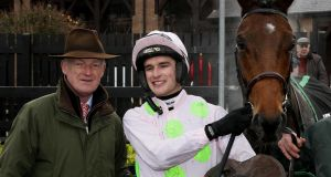 Willie Mullins, Danny Mullins and Morgiana Hurdle winner Saldier. Photograph: Peter Mooney/Inpho