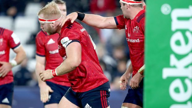 Munster's Jeremy Loughman celebrates his try in the Heineken Champions Cup match against Ospreys at the Liberty stadium in Swansea. Photograph: Dan Sheridan/Inpho