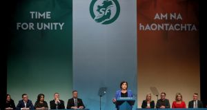 Sinn Féin president Mary Lou McDonald giving her keynote speech during her party's ardfheis in Derry on Saturday. Photograph: Brian Lawless/PA Wire