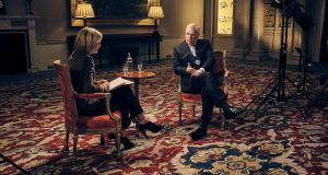 Britain's Prince Andrew speaking for the first time about his links to Jeffrey Epstein in an interview with BBC Newsnight's Emily Maitlis. Photograph: PA Photo.