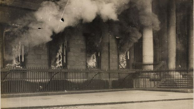 The Custom House blaze in May 1921. Photograph: WD Hogan/National Library of Ireland