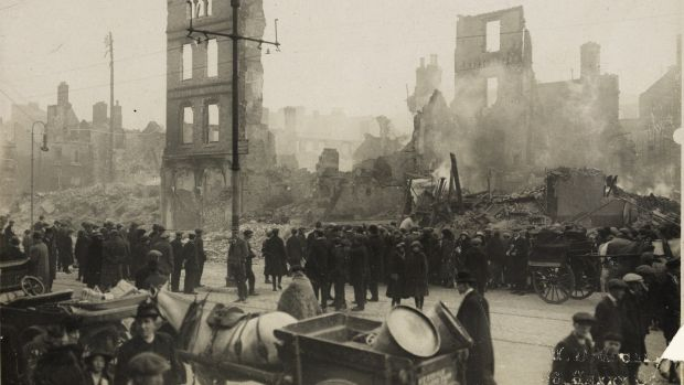The burning of Cork in December 1920. Photograph: WD Hogan/National Library of Ireland