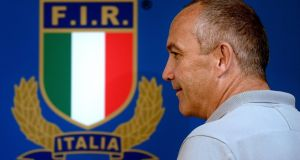 Conor O'Shea has resigned from his role as Italy head coach with immediate effect. Photograph:  Filippo Monteforte/AFP via Getty Images