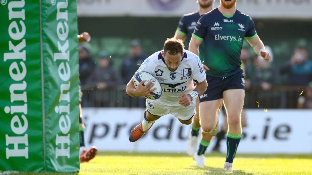 Aaron Cruden dives to open the scoring for Montpellier at The Sportsground. Photograph: James Crombie/Inpho