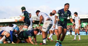 Bundee Aki celebrates after Tom McCartney crosses for Connacht against Montpellier. Photograph: Tommy Dickson/Inpho