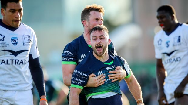 Caoiln Blade celebrates scoring Connacht's third try against Montpellier. Photograph: James Crombie/Inpho