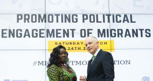 Salome Mbugua of Akidwa with Minister of State for Justice David Stanton. Ms Mbugua is critical of Direct Provision. File photograph: Tom Honan