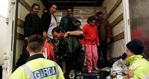 Romanians in the back of a freight truck found trying to enter the country at Rosslare Port in 1998. Photograph: Dylan Vaughan