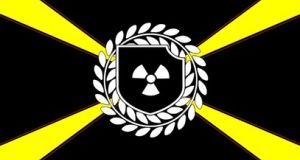 The flag of the Atomwaffen (Atomic Weapons) Division, a violent far-right group.