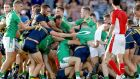 Ireland and Australia get to grips with each other during the last International Rules series in 2017. Photograph: Tommy Dickson/Inpho
