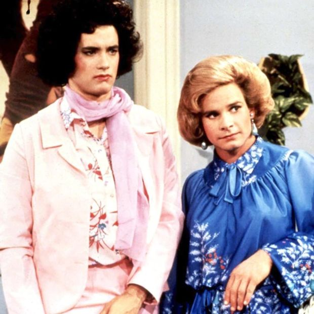 Tom Hanks in the 1980s sitcom Bosom Buddies with Peter Scolari