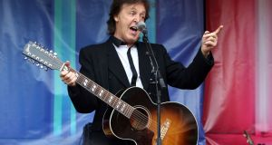 Paul McCartney, who is to headline the Saturday night of Glastonbury 2020.  Photograph:  Steve Parsons/PA Wire