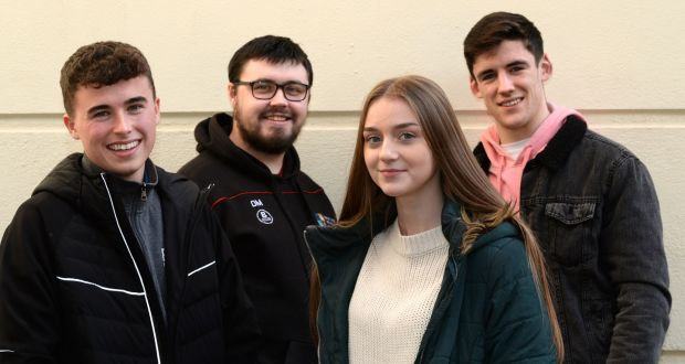 Nathan Henchy, Dean Murray, Nicole Mannion and Tomas Griffin, at Jigsaw, national youth mental health service, in Pearse Street, Dublin. Photograph: Dara Mac Dónaill