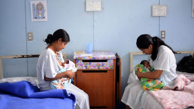 Women breastfeed their babies during at the Maternity Hospital in Guatemala City. Photograph: Johan Ordonez/AFP/Getty Images