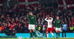 Ireland's Jeff Hendrick dejected after Denmark took the lead during the Euro 2020 qualifier. Photo: Ryan Byrne/Inpho