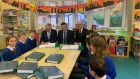 Minister of Communications Richard Bruton, Taoiseach Leo Varadkar and David McCourt of National Broadband Ireland at a school in Glendalough, Co Wicklow. Photograph: Richard Bruton/Twitter