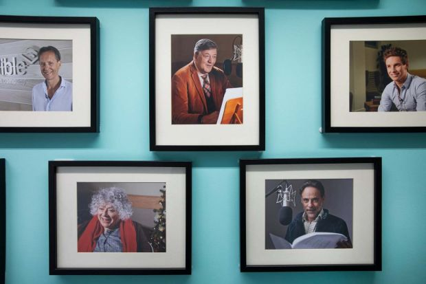 A wall of fame at Audible's studio in London. Photograph: Fabio De Paola/Guardian