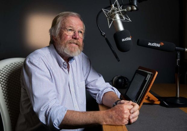 Bill Bryson at the Audible studio: 'I can't help feel I should be able to pronounce the words in my own book.' Photograph: Fabio De Paola/Guardian