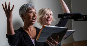 Tania Rodrigues and Clare Corbett, who have narrated hundreds of audiobooks. Photograph: Fabio De Paola/Guardian