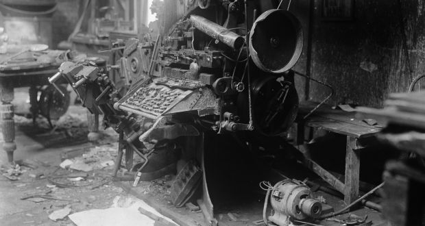 March 1922: Destroyed printing equipment at the Freeman Journal's offices in Dublin, during the Irish Civil War. Photograph: Walshe/Topical Press Agency/Getty Images