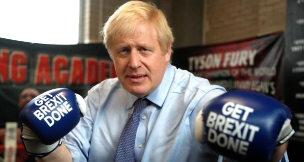 British prime minister Boris Johnson during a stop on his general election campaign trail at a boxing academy in Manchester on Tuesday. Photograph: Frank Augstein/Getty Images