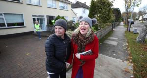 Fianna Fáil's Lorraine Clifford-Lee meeting Anne O'Connor while canvassing in Portmarnock for the Dublin Fingal byelection. Photograph: Nick Bradshaw