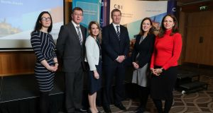 Ibec economist Hazel Ahern-Flynn, Bank of Ireland (BoI) economist Alan Bridle, BoI group chief economist Loretta O'Sullivan, BoI director of corporate banking NI Dale Guest and CBI deputy chief economist Anna Leach at the business briefing in Belfast on Tuesday.