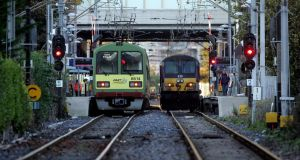 Trains at the bridge of Lansdowne Road station in Dublin. File photograph: Cyril Byrne/The Irish Times