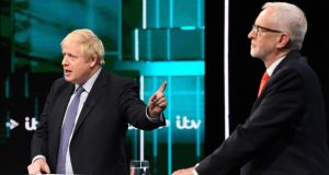 British prime minister Boris Johnson and Labour leader Jeremy Corbyn during the leaders' debate on ITV. Photograph: Jonathan Hordle/ITV