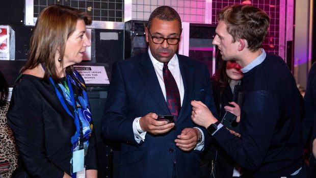 James Cleverly(C) attending the 'Johnson v Corbyn: The ITV Debate', in the Spin Room at the ITV Studios in Manchester on Tuesday. Photograph: Jonathan Hordle/EPA