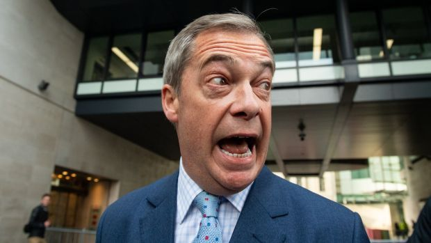 Irish backstop - Brexit Party leader Nigel Farage. Photograph: Dominic Lipinski/PA Wire