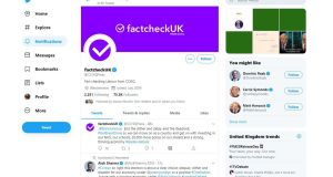 Screen grab from an official Conservative Party Twitter account. The party has faced criticism after one of its official Twitter accounts was rebranded as a fact checking service during the ITV leaders' debate. Photograph: Conservative Party/PA Wire.