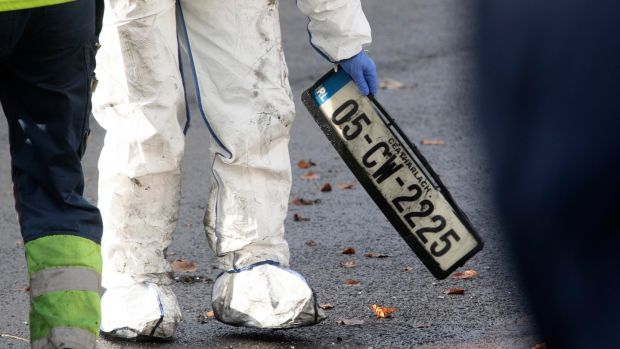 The number plate of the vehicle in which the man's body was found. Photograph: Collins