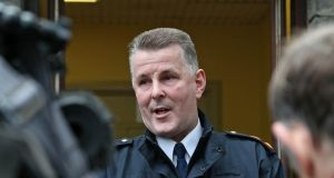 Superintendent Paul Dolan of Lucan Garda station  speaking during a media briefing about the body of a man found in a burning car  in Lucan. Photograph: Collins