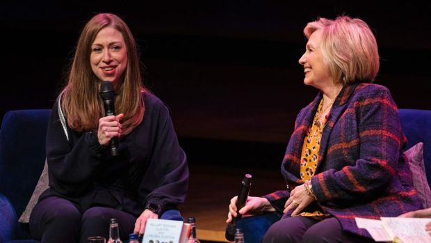 Chelsea Clinton and Hillary Clinton at the Southbank Centre in London on November 10th for the launch of their book Gutsy Women. Photograph: Aaron Chown/PA Wire