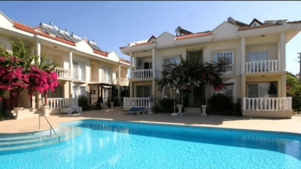 Duplex apartment in Calis on Turkey's west coast is in a gated development of 10 properties that centre on a swimming pool