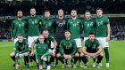 The Ireland team lines up ahead of the Euro 2020 qualifier against Denmark. Photo: Ryan Byrne/Inpho