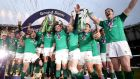 Ireland celebrate winning the Grand Slam following their Six Nations Championship final victory over England at Twickenham on March 17th, 2018. Photograph: Dan Sheridan/Inpho