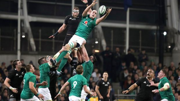Ireland's Devin Toner in action against New Zealand in November 2018. Photograph: Billy Stickland/Inpho