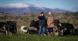 Farmer Kieran Hearne and National Dairy Council chief executive Zoe Kavanagh: consumers want Ireland to continue to be a sustainable dairy agricultural country. Photograph: Dylan Vaughan