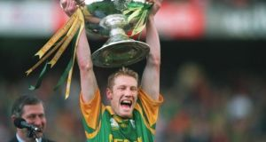 Graham Geraghty lifts the Sam Maguire cup after Meath won the 1999 All-Ireland football final. Photograph: Joe St Leger