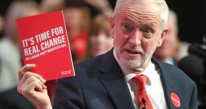 Labour Party leader Jeremy Corbyn during the launch of his party's manifesto in Birmingham. Photograph: Joe Giddens/PA