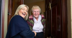 Fine Gael election candidate Verona Murphy  meets Louise Hennessey while  canvassing in New Ross, Co Wexford. Photograph: Patrick Browne.