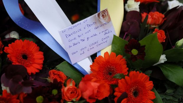 A wreath at the grave of Patrick O'Dowd in Glasnevin Cemetery, one of the victims of Bloody Sunday. Photograph: Brian Lawless/PA Wire