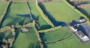 Magheracloone Mitchells GAA Club grounds and Community Centre, with the crack caused by a collapsed mine clearly visible. Photograph: Pat Byrne