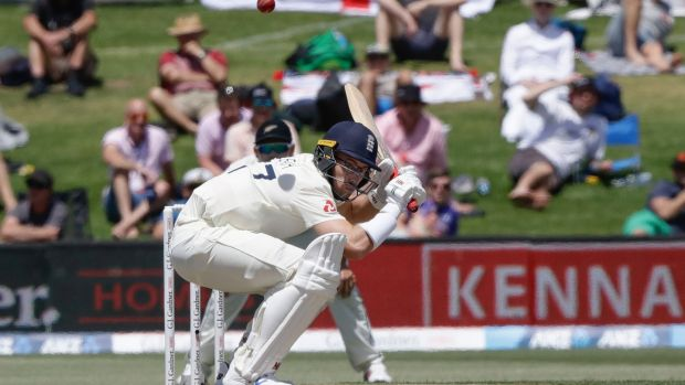 Jack Leach ducks under bouncer during play on day two. Photo: Mark Baker/AP Photo