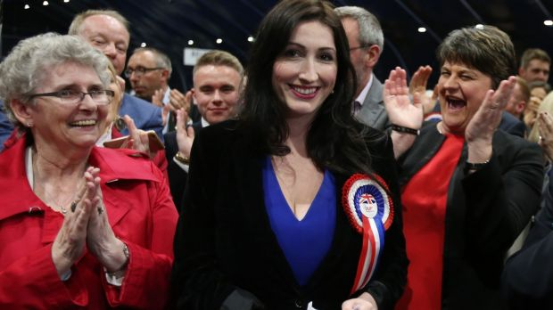 Emma Little Pengelly of the DUP celebrates winning the South Belfast seat in the 2017 general election with party leader Arlene Foster (right). File photograph: Niall Carson/PA Wire.