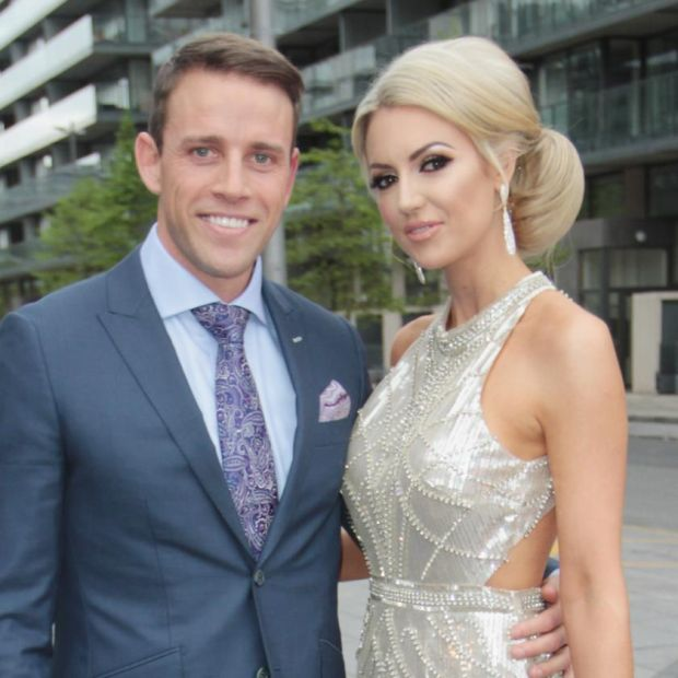 New parents: Wes Quirke and Rosanna Davison. Photograph: Phillip Massey/Getty