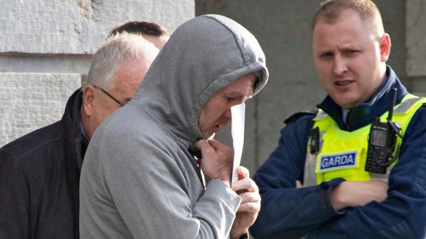 Bernard Joyce (centre, wearing grey hoodie) pictured leaving Mullingar District Court. Photograph: Colin Keegan, Collins Dublin